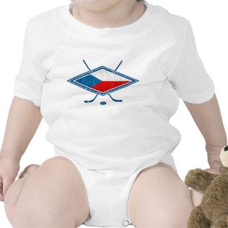 Český checo del logotipo de la bandera del hockey traje de bebé