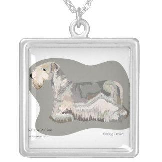 Cesky Terrier Colgante Cuadrado