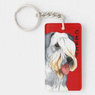Cesky Terrier Color Block Keychain