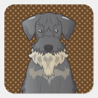 Cesky Terrier Dog Cartoon Paws Square Sticker
