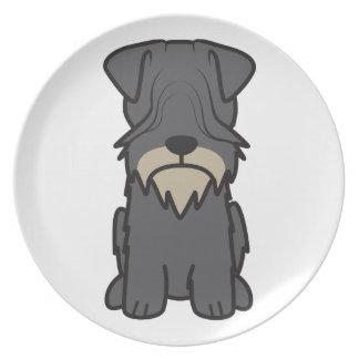 Cesky Terrier Dog Cartoon Plate