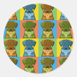 Cesky Terrier Dog Cartoon Pop-Art Classic Round Sticker