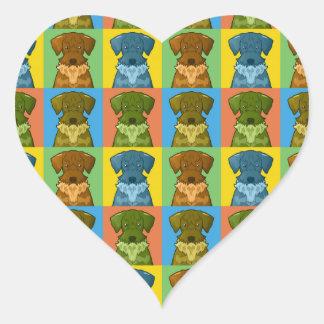Cesky Terrier Dog Cartoon Pop-Art Heart Sticker