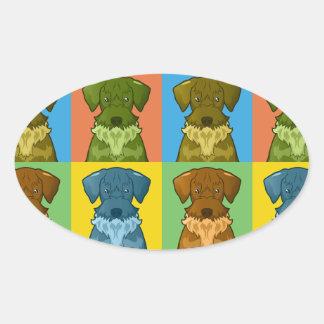 Cesky Terrier Dog Cartoon Pop-Art Oval Sticker