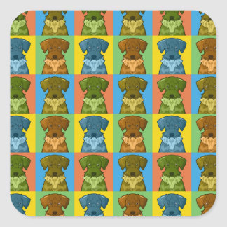 Cesky Terrier Dog Cartoon Pop-Art Square Sticker