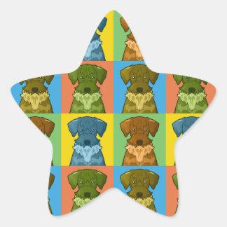 Cesky Terrier Dog Cartoon Pop-Art Star Sticker