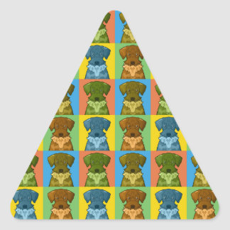 Cesky Terrier Dog Cartoon Pop-Art Triangle Sticker