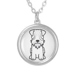 Cesky Terrier Dog Cartoon Round Pendant Necklace