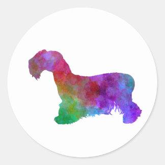 Cesky Terrier in watercolor Classic Round Sticker