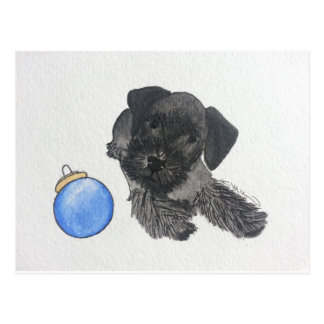 Cesky Terrier Puppy with Ornament Postcard