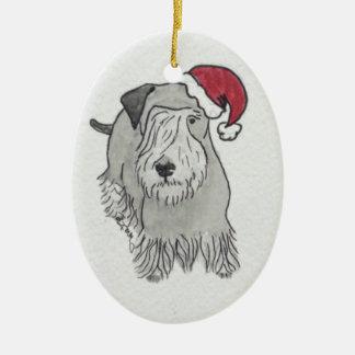Cesky Terrier Santa Hat Ceramic Ornament