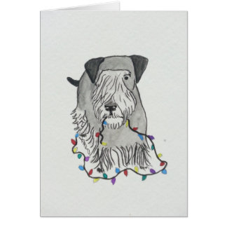Cesky Terrier with Christmas Lights Greeting Card