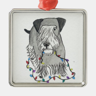 Cesky Terrier with Christmas Lights Metal Ornament