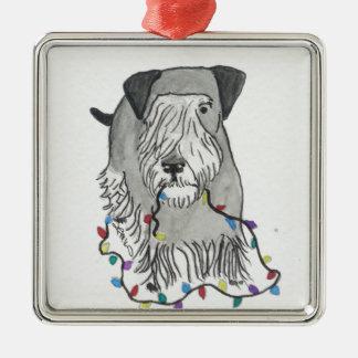 Cesky Terrier with Christmas Lights Christmas Ornaments