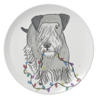 Cesky Terrier with Christmas Lights Plates