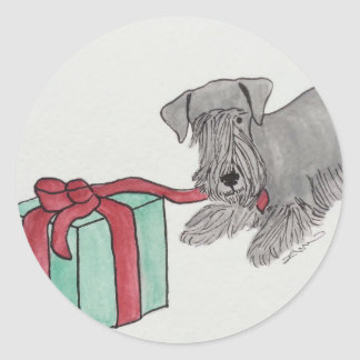 Cesky Terrier with Present Classic Round Sticker