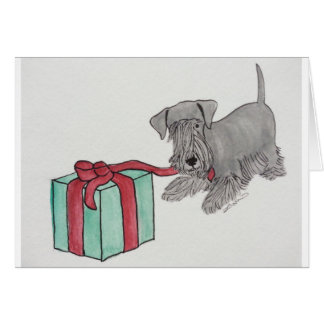Cesky Terrier with Present Greeting Card