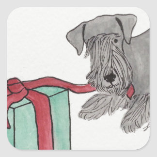 Cesky Terrier with Present Square Sticker