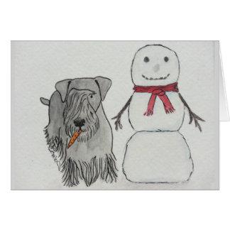 Cesky Terrier with Snowman's Carrot Card