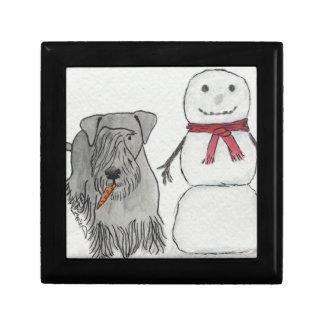 Cesky Terrier with Snowman's Carrot Keepsake Boxes