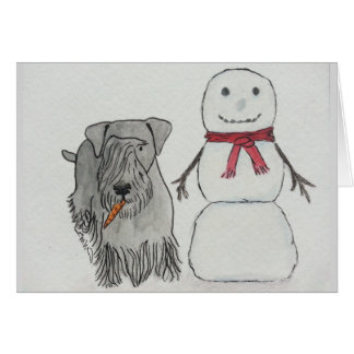 Cesky Terrier with Snowman's Carrot Greeting Card
