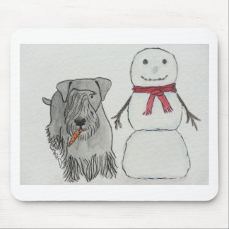 Cesky Terrier with Snowman's Carrot Mouse Pad
