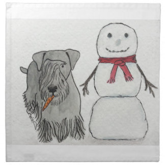 Cesky Terrier with Snowman's Carrot Printed Napkin