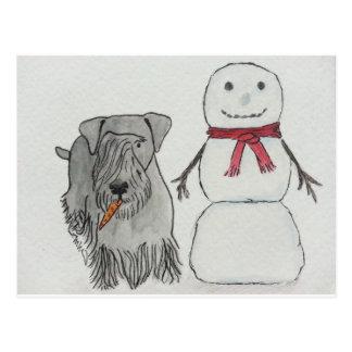 Cesky Terrier with Snowman's Carrot Postcard