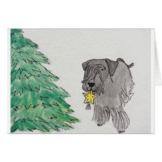 Cesky Terrier with Star Tree Topper Greeting Card