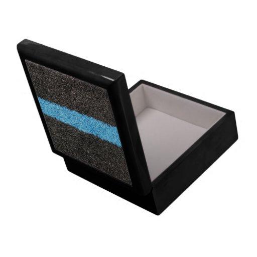 Césped azul negro joyero cuadrado grande