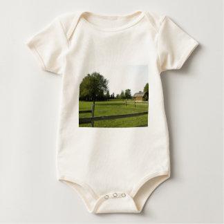 Césped verde con la cerca y los árboles de madera body de bebé