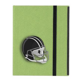 Césped verde del casco de fútbol americano