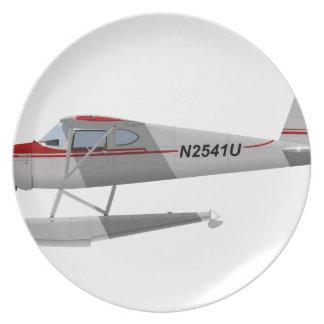 Cessna 140 en los flotadores N2541U Platos Para Fiestas