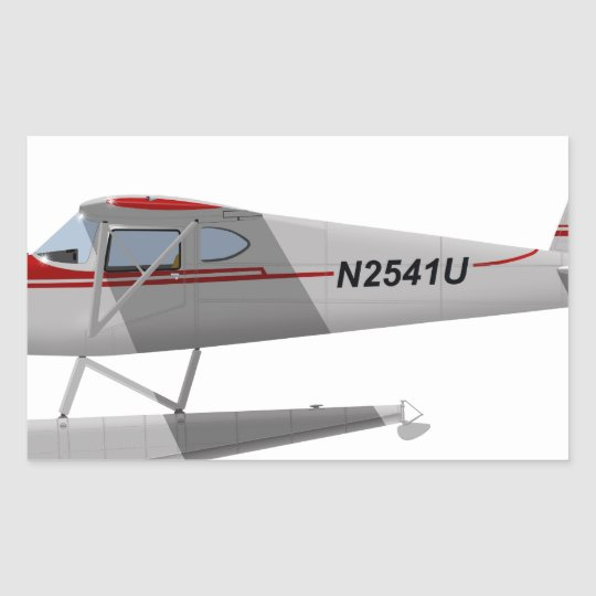 Cessna 140 On Floats N2541U Rectangular Sticker