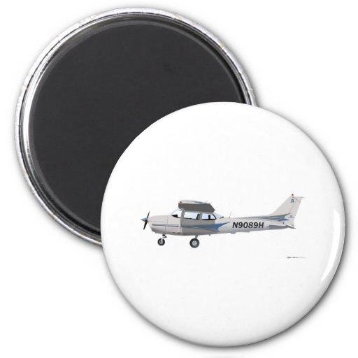 Cessna 172 Skyhawk Blue 2 Inch Round Magnet
