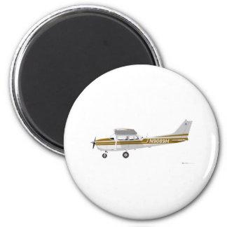 Cessna 172 Skyhawk Brown 2 Inch Round Magnet