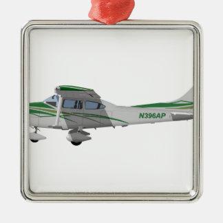 Cessna 182T Turbo Skylane II 396396 Adorno Navideño Cuadrado De Metal