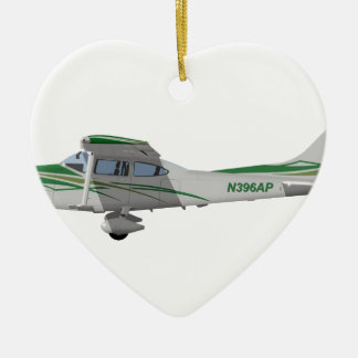 Cessna 182T Turbo Skylane II 396396 Adorno Navideño De Cerámica En Forma De Corazón