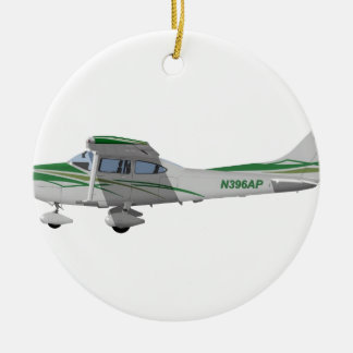 Cessna 182T Turbo Skylane II 396396 Adorno Navideño Redondo De Cerámica