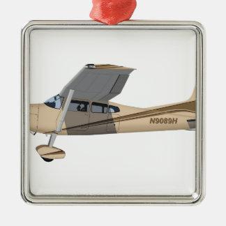 Cessna 185 Skywagon 390390 Adorno Navideño Cuadrado De Metal