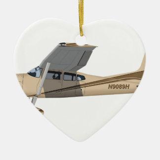 Cessna 185 Skywagon 390390 Adorno Navideño De Cerámica En Forma De Corazón