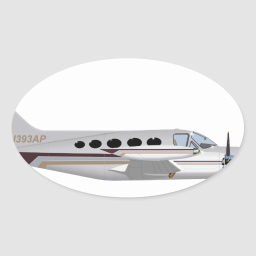Cessna 421 Eagle de oro 393393 Pegatina Ovalada