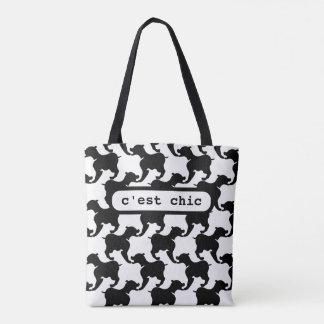 C'est Chic Paris Dogs Fashion Womens Tote Bag 2