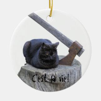 C'est la vie! Double-Sided ceramic round christmas ornament