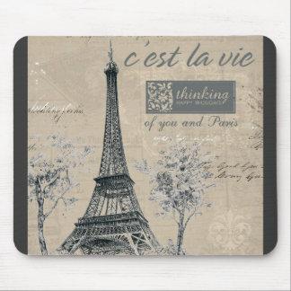 C'est la Vie:  Eiffel Tower Design Mouse Pad