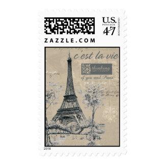 C'est la Vie:  Eiffel Tower Design Postage Stamp