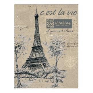 C'est la Vie:  Eiffel Tower Design Postcard