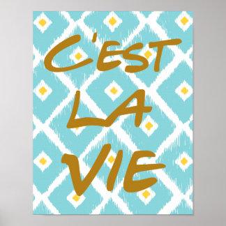 C'est La Vie Hand Lettering Poster - Ikat Pattern