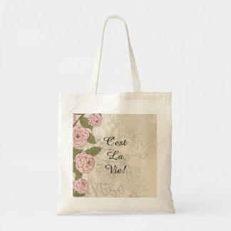C'est La Vie! Inpirational Quote Floral Roses Tote Bag