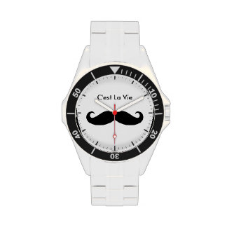 C'est La Vie Mustache - Funny Classic Design Wrist Watches